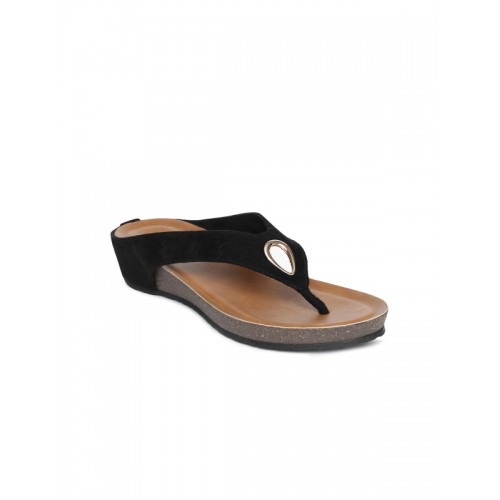 3895a175c9c242 Buy Inc 5 Women Black Solid Synthetic T-Strap Flats online