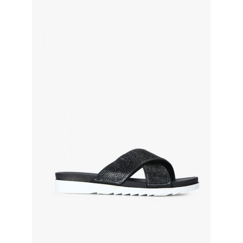 Truffle Collection Black Glitter Sandals