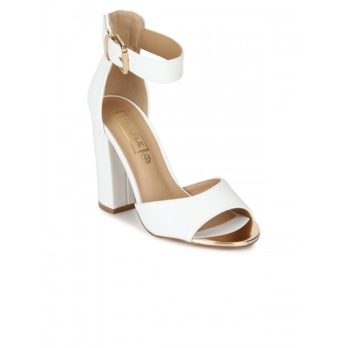 d1abf7a60276 Buy Truffle Collection Women White Solid Heels online