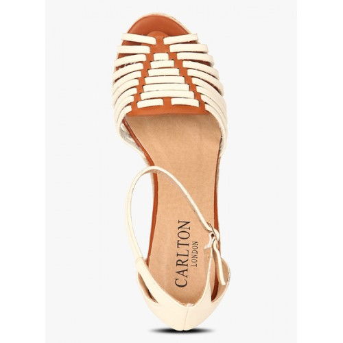 Carlton London White Ankle Strap Espadrille Wedges