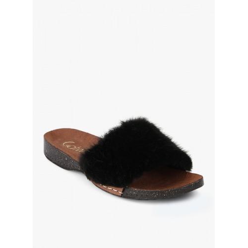Catwalk Black Sliders Sandals