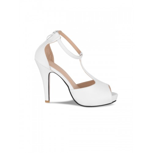 Sherrif Shoes Women White Solid Peep Toes