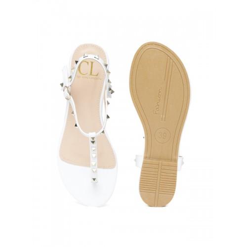 Carlton London Women White Studded T-Strap Flats