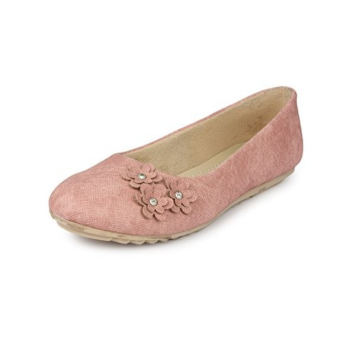 Beautiful Pink Synthetic Flats Bellies