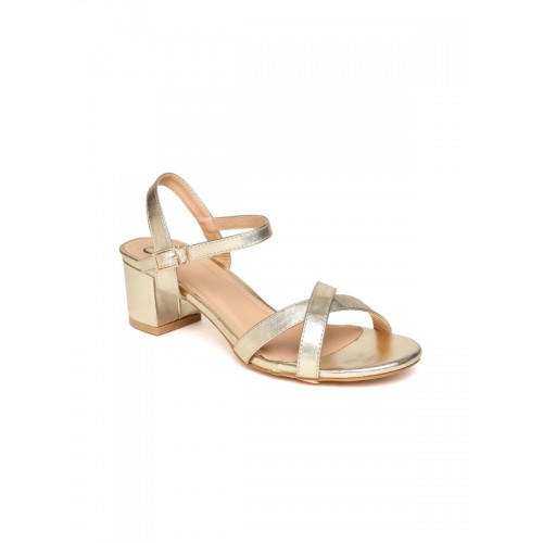 6f56e097cf Buy Carlton London Women Gold-Toned Solid Sandals online | Looksgud.in