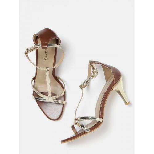 713a8fb366e5 Buy Dressberry DressBerry Women Gold-Toned   Brown Slim Heels online ...