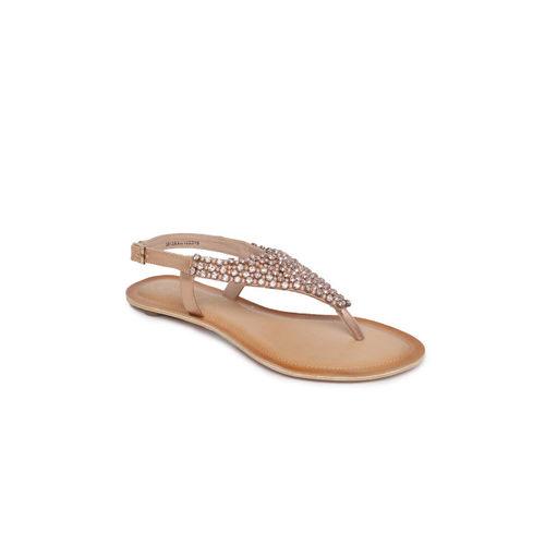 Catwalk Women Rose Gold Embellished T-Strap Flats