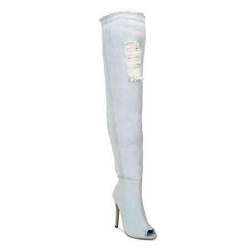 Light Blue Denim Stiletto Long Boots