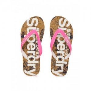 Superdry Women Pink & Brown Printed Thong Flip-Flops