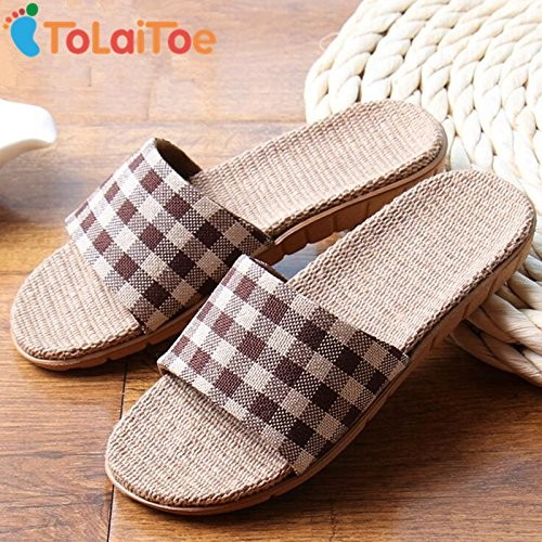 Brown, 10 : ToLaiToe 2017 New Linen Couples Home Floor Inside Anti-skid Slippers Silent Sweat Plaid Slippers Summer Women/Men Cool Sandals