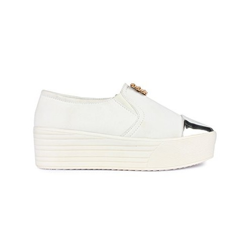 Buy Bella Toes Designer Shoes Casual Shoes White Colour Fabric