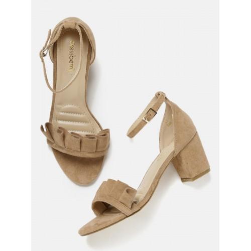 119260680ec5 Buy DressBerry Women Brown Block Heels with Ruffle Detail online ...