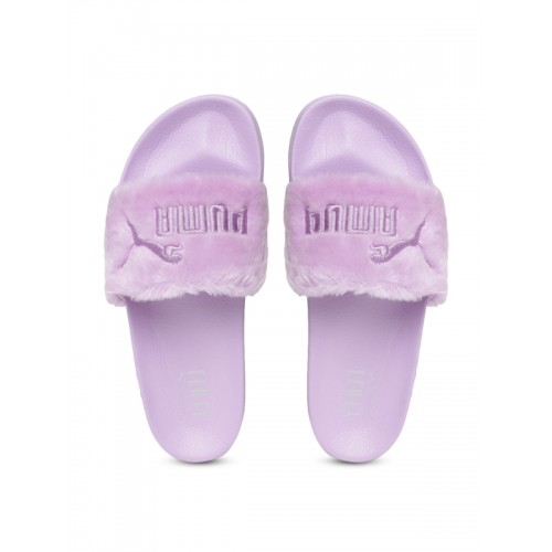 Buy Puma Unisex Lavender Faux Fur Slide Slip-On Flip-Flops online ... 05fb08ec48