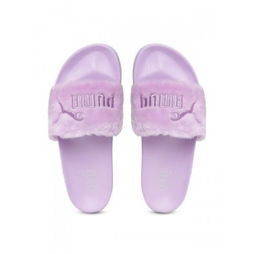 release date 84db3 c8013 Buy Puma Unisex Lavender Faux Fur Slide Slip-On Flip-Flops ...