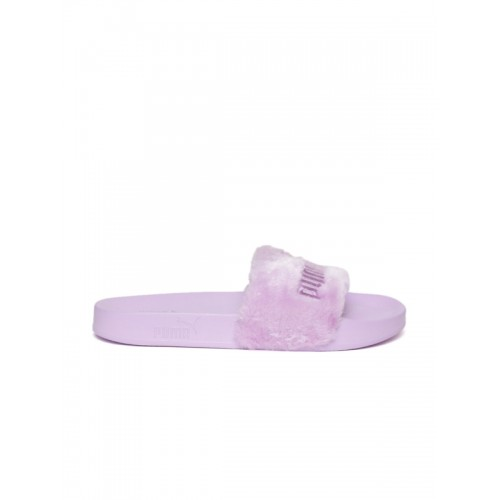 Puma Unisex Lavender Faux Fur Slide Slip-On Flip-Flops
