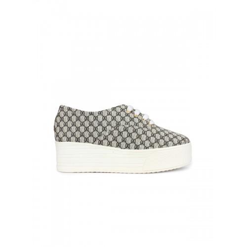 Shoetopia Women White & Black Printed Flatform Sneakers