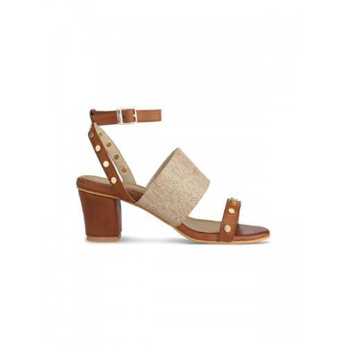 Signature Sole Women Brown Woven Design Block Heels