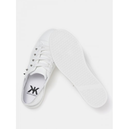 Kook N Keech Women White & Silver-Toned Colourblocked Studded Sneakers
