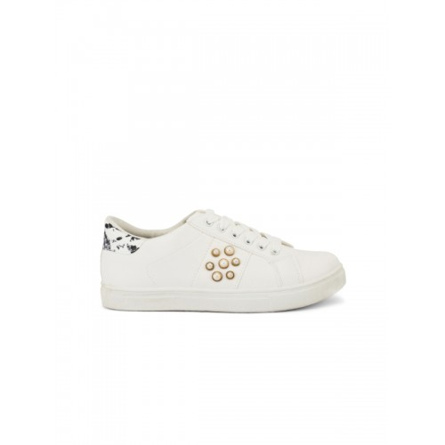 Truffle Collection Women White Embellished Sneakers