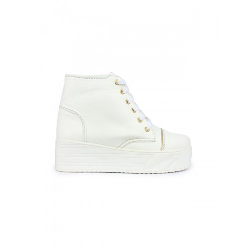 Shoetopia Women White Solid Synthetic Leather High-Top Sneakers