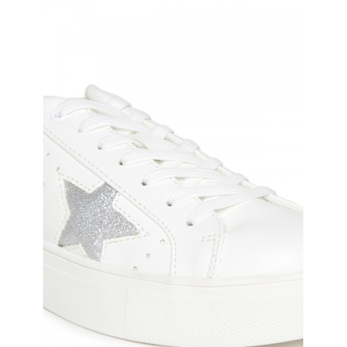 c8d9a712804 Madden Girl by Steve Madden Women Off-White Perforated Star-Shaped  Patterned Sneakers ...