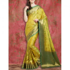 Viva N Diva yellow art silk kanjivaram saree with blouse