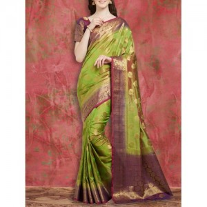 Viva N Diva green art silk kanjivaram saree with blouse