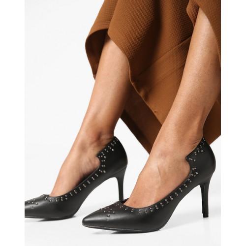3c2c98f0c84f Buy AJIO Pointed-Toe Embellished Stilettos online