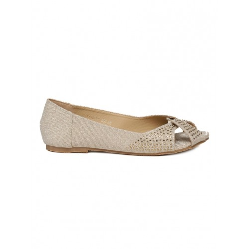 Addons gold slip on ballerina