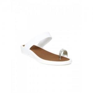 Carlton London Women White Solid One Toe Flats