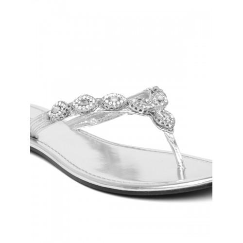 Carlton London Women Silver-Toned Embellished Flats