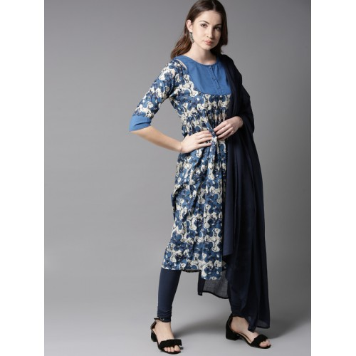 Moda Rapido Women Blue & Off-White Printed Kurta with Churidar & Dupatta