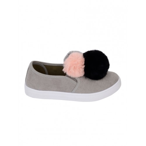 Truffle Collection grey pu slip on casual shoes