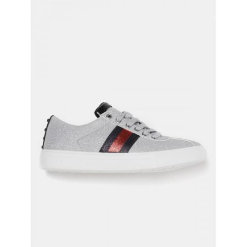 Kook N Keech Women Silver-Toned Shimmer Sneakers