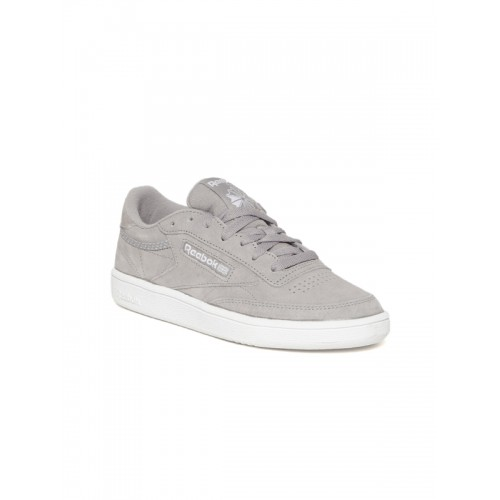 acf98d7564d56 ... Reebok Classic Women Grey Club C 85 Trim Nubuck Leather Sneakers ...