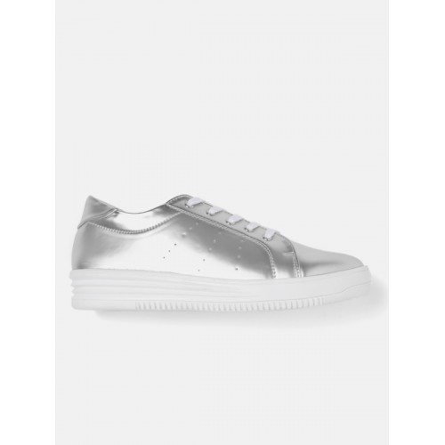 DressBerry Women Silver-Toned Sneakers