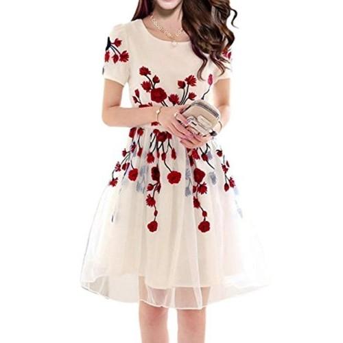 Jashvi Creation Off White Georgette & Poly Cotton Dress