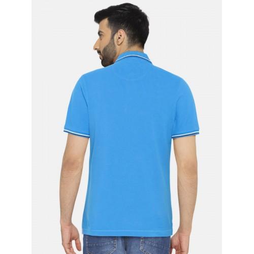 66ed5c03 Buy Blackberrys Men Blue Solid Polo Collar T-shirt online   Looksgud.in