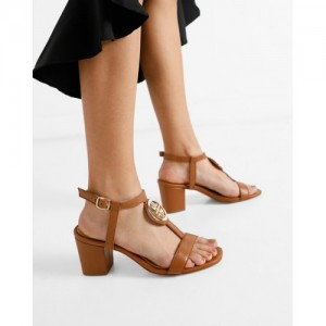 Carlton London Brown Leather Solid Sandals