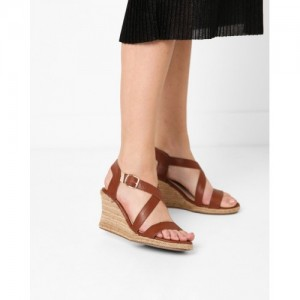 Carlton London Women's Brown Synthetic Heeled Sandal