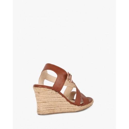 Carlton London Women's Brown Synthetic Heeled Sandal