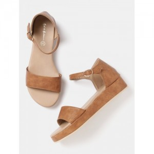 Mast & Harbour Women Tan Brown Solid Sandals