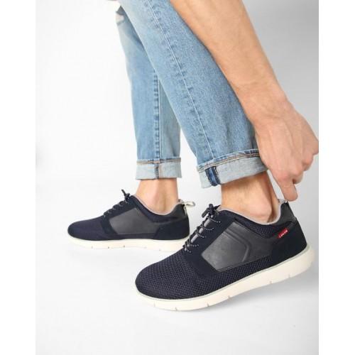 Black Tab Runner Sneakers For Men(Blue