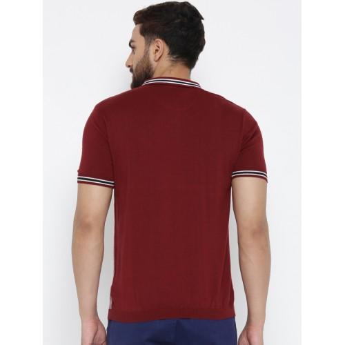 Blackberrys Men White & Maroon Solid Polo Collar T-shirt