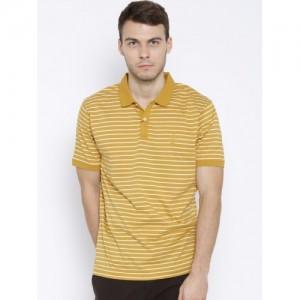 Blackberrys Mustard Yellow Cotton Slim Fit Striped Polo T-shirt
