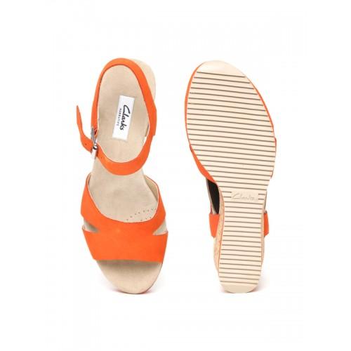 Clarks Women Orange Nubuck Leather Sandals