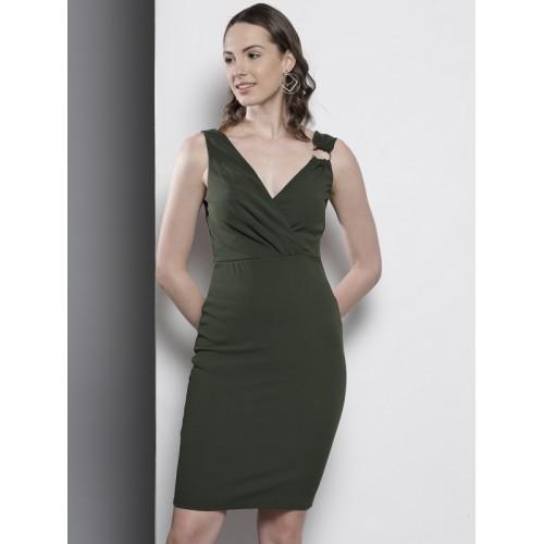 3ee3d7b45a ... DOROTHY PERKINS Women Olive Green Solid Sheath Dress ...