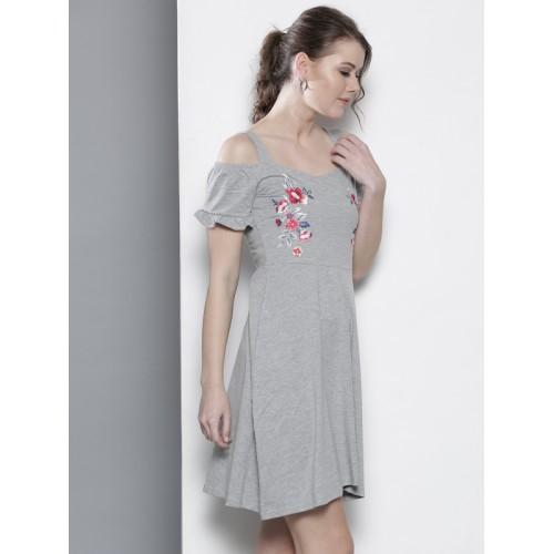 DOROTHY PERKINS Women Grey Melange Cold-Shoulder A-Line Dress