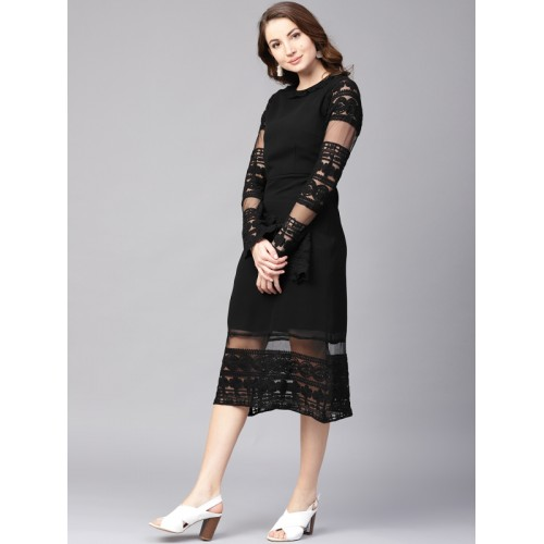 606da80d Buy Athena Women Black Lace Solid Detail Midi Sheath Dress online ...