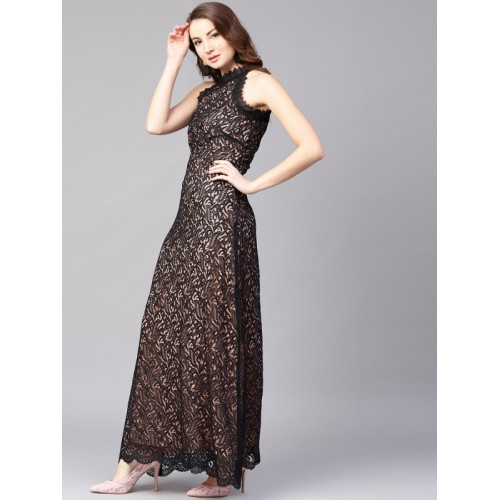 1c50ee3fbe Buy Athena Women Black Lace Maxi Dress online | Looksgud.in